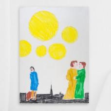 """""""High five yellow sun!"""" tactile painting (Original)"""