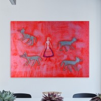 """4 wolfs & girl"" painting reproduction (canva)"