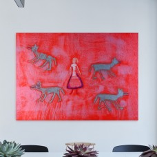 """""""4 wolfs & girl"""" painting reproduction (canva)"""