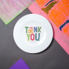 "Porcelain plate - ""THANK YOU"" Ø21 with pattern side"