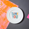 "Porcelain plate - ""THANK YOU"" Ø24 with radial side"