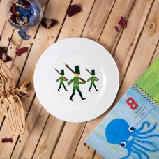 "Porcelain plate - ""Tin soldiers"" Ø24 with radial side"