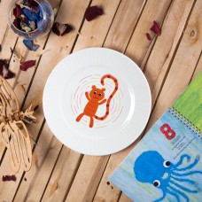 "Porcelain plate - ""9 stripe Tiger"" Ø24 with radial side"