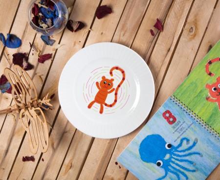 """Porcelain plate - """"9 stripe Tiger"""" Ø24 with radial side"""